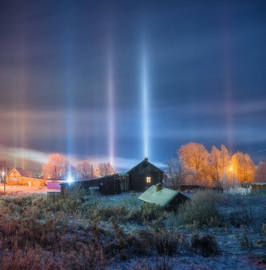 Интересное природное явление -световые столбы. Кировская область.