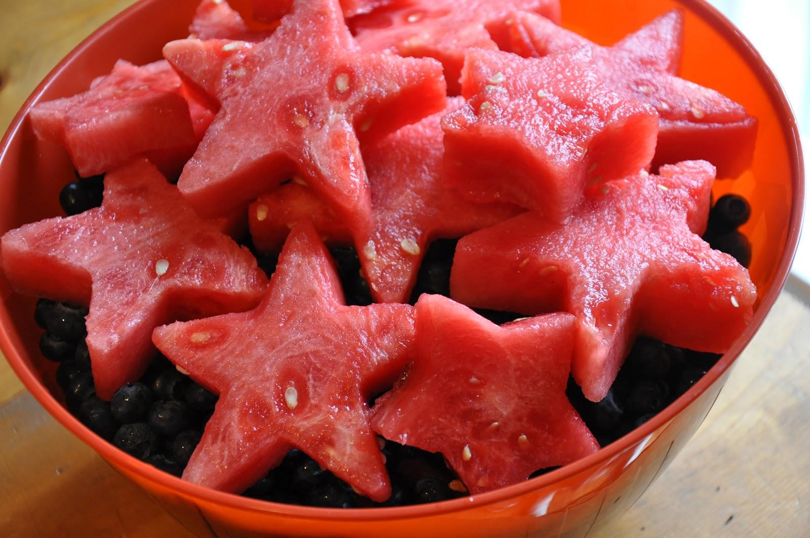 Watermelon Stars over Blueberries