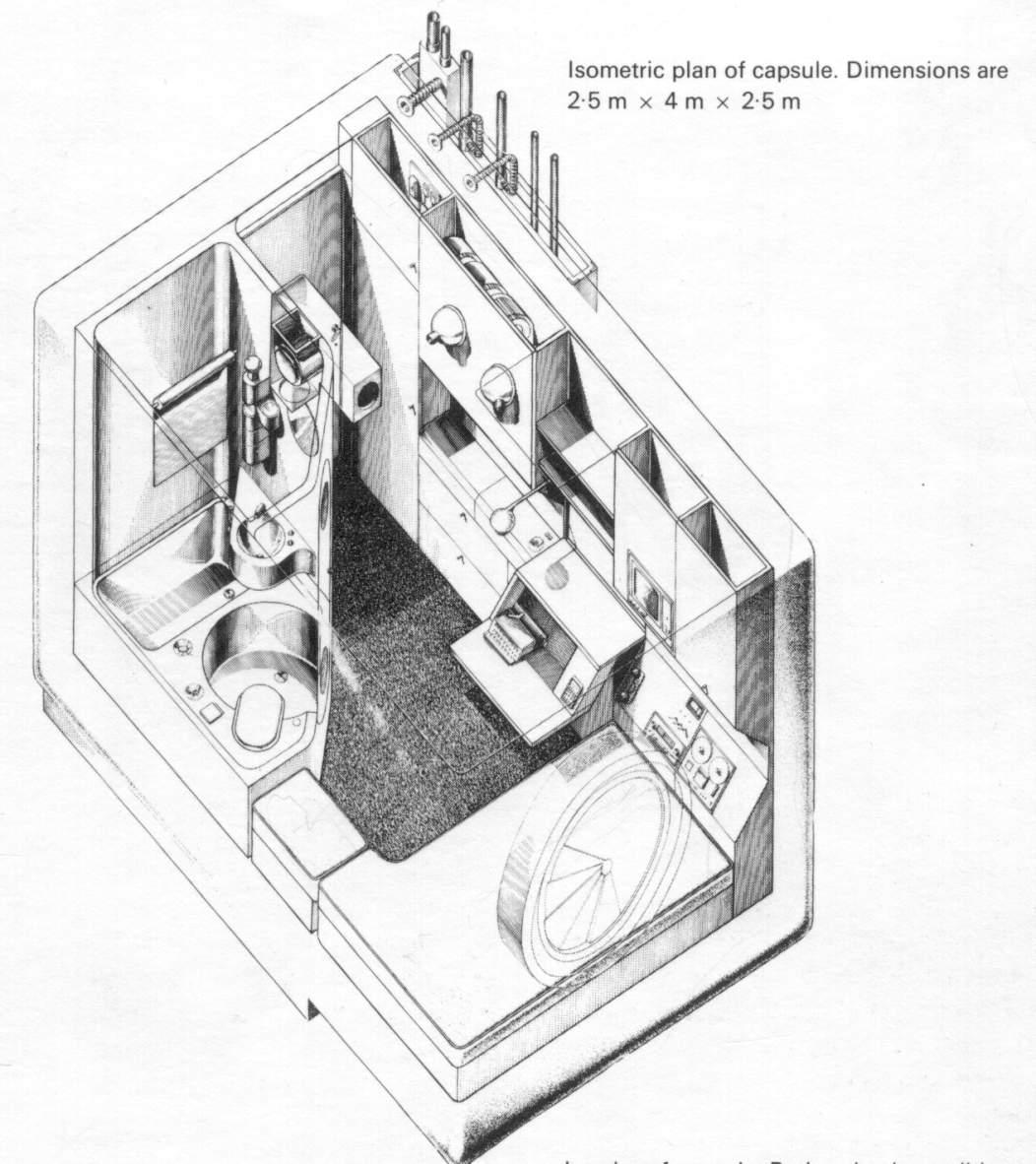 Схема устройства мобильного отеля капсульного типа