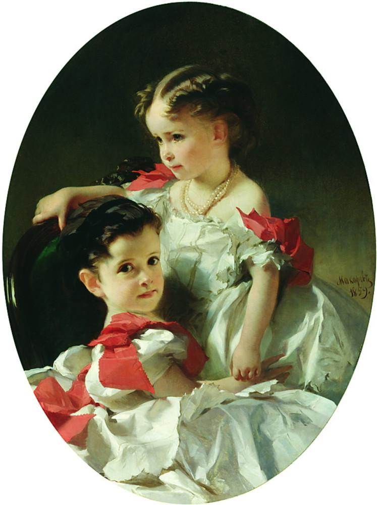 Мария Львовна и Софья Львовна Перовские 1859 год Художник Макаров Иван Кузьмич