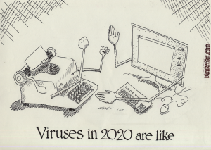 two typing machines, one a computer, the other a manual typewriter.  Which contains the worse virus?