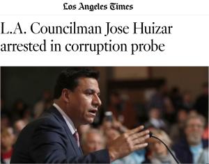 headlines of councilman in LA Times newspaper