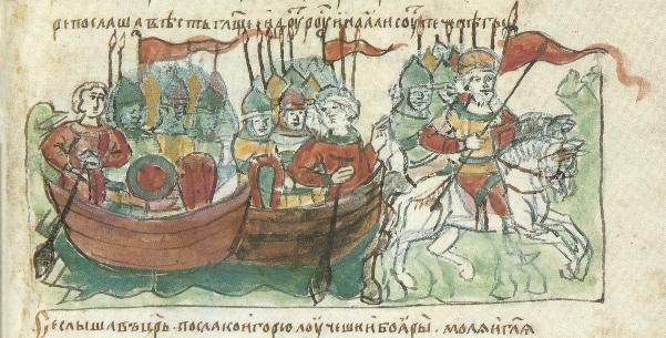 Иллюстрирация из Радзивилловской летописи - летописного свода нач. XIII в., сохранившемуся в двух списках XV в.