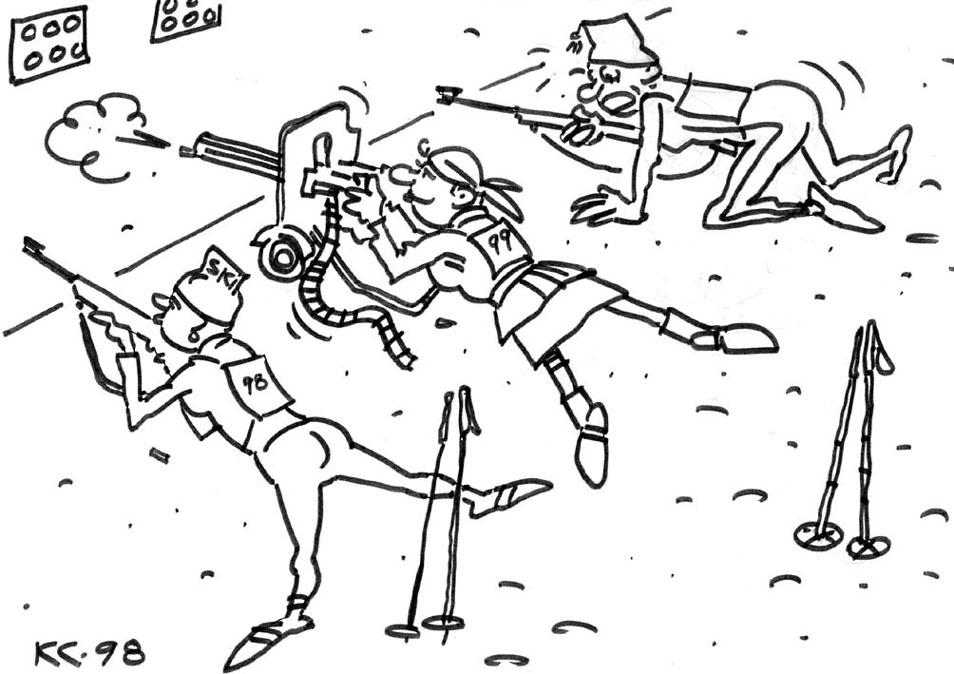 Картинки биатлонистов карандашом