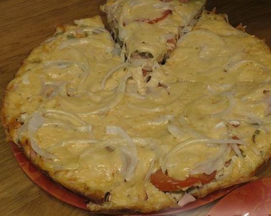 Пицца на сковороде с помидорами и колбасой