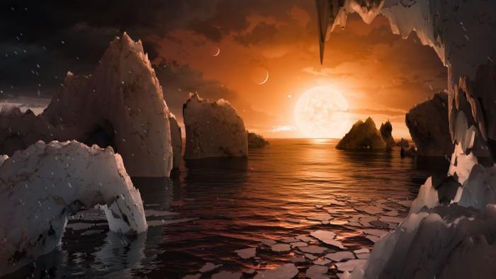 Так могла бы выглядеть поверхность планеты TRAPPIST-1f (иллюстрация NASA)