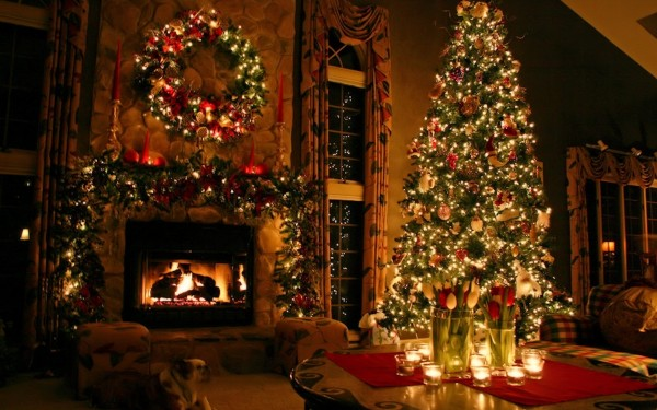 dog-candle-fireplace-fir-tree-room-wreath-christmas-new-year-christmas-fireplace-holidays