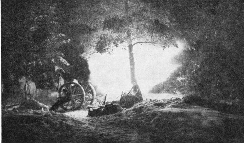 Батарея 87-мм пушек ведет огонь в районе Мурсулы, декабрь 1939 года