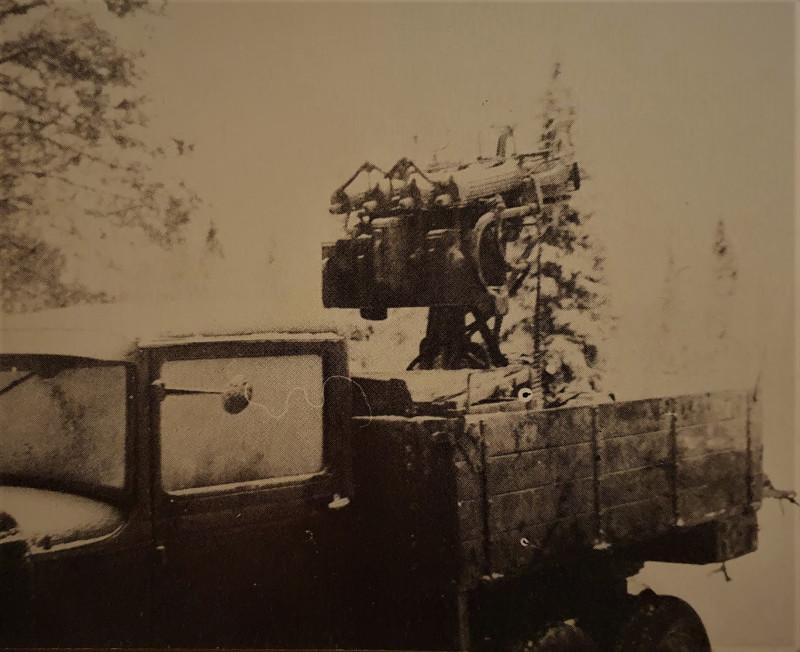 Одна из трех зенитно-пулеметных установок М4 662-го СП, захваченная финнами на месте разгрома отряда Шарова.