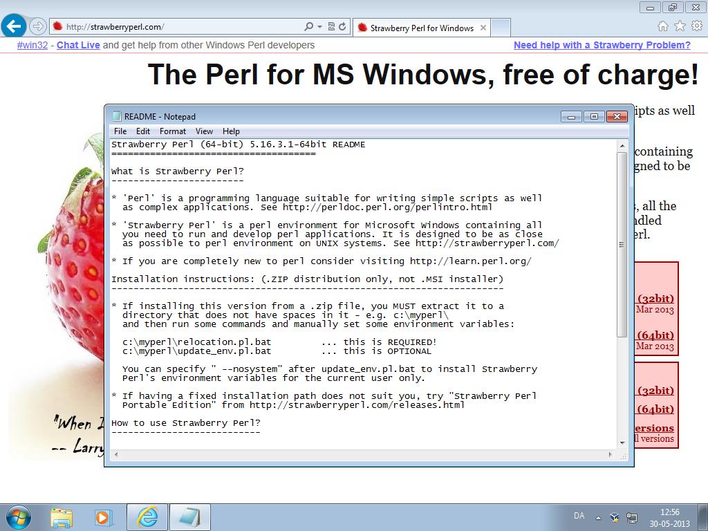 Installing Strawberry Perl on Windows 7: slu — LiveJournal