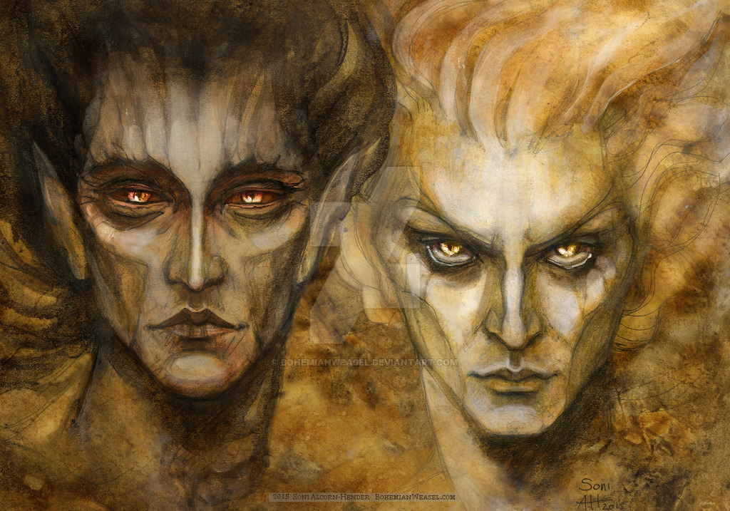 melkor_and_sauron_by_bohemianweasel-d94qvro