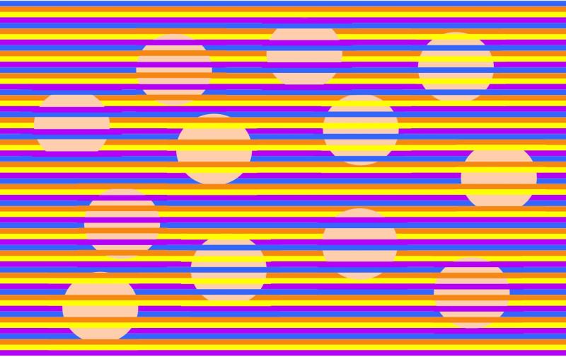 Иллюзия с кругами разного цвета