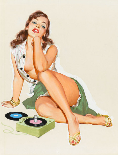 single-girl-pin-up-with-45-rpm-records