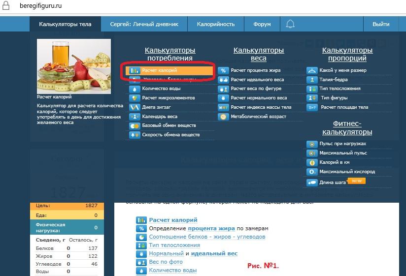 Коридор калорийности для похудения калькулятор онлайн
