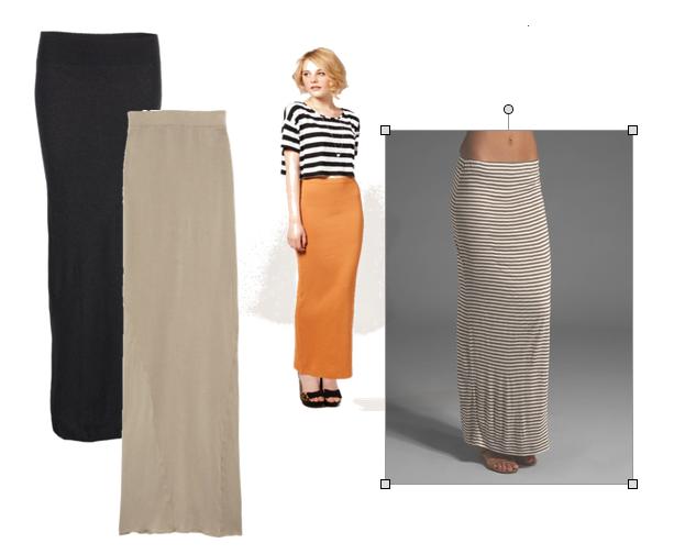 Прямая макси юбка с чем носить