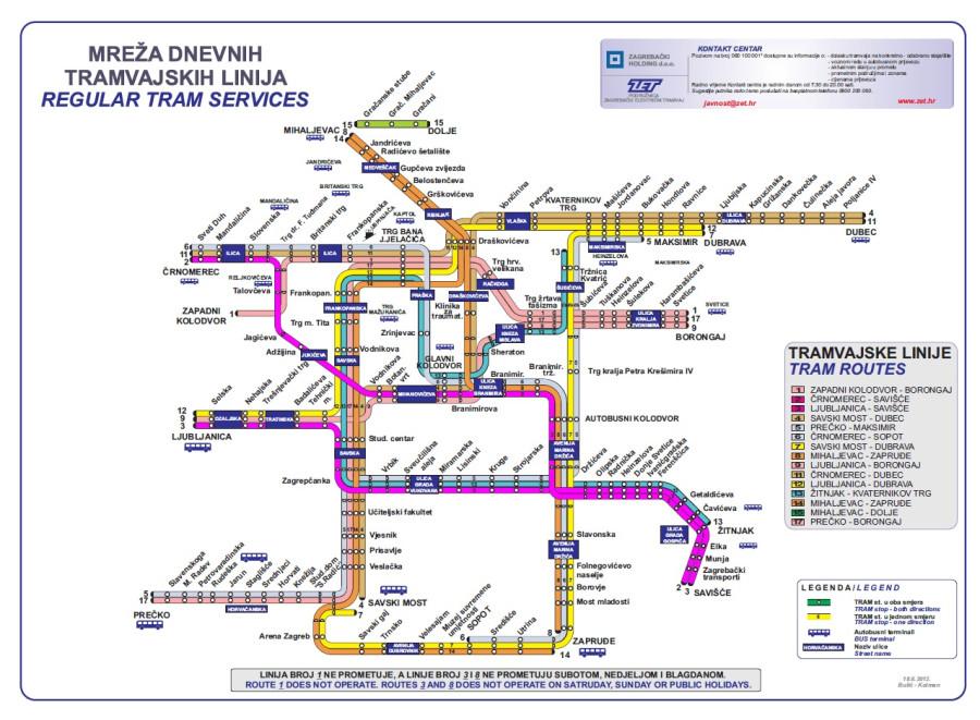Трамваи Загреба карта