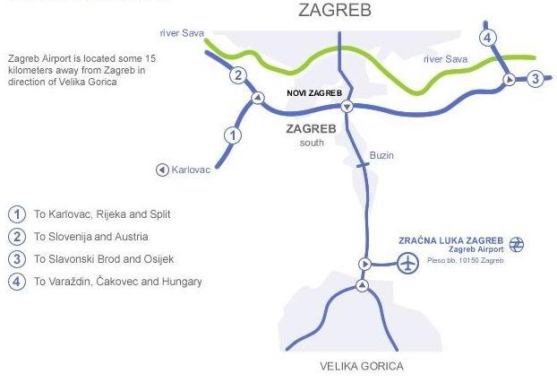 Проезд к аэропорту Загреба карта