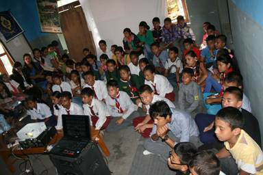 pokhara audience watching wildlife documentary