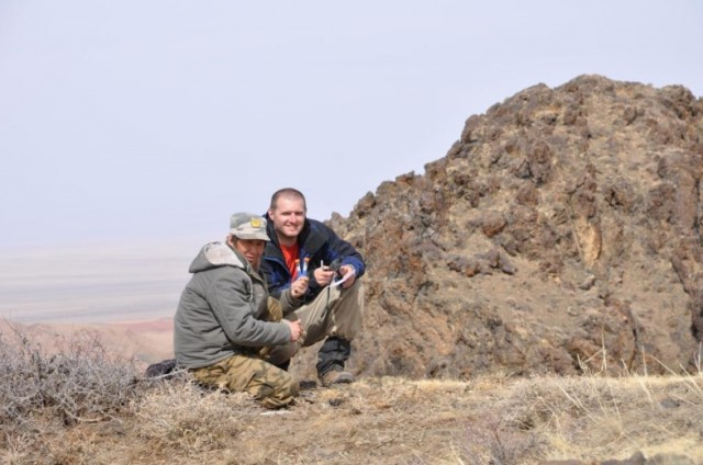 Gathering samples in the field in Mongolia