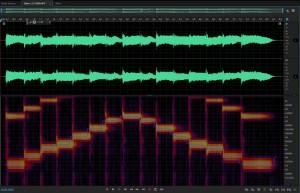 Звуковысотный спектр электронного фортепиано. Spectral pitch display of piano