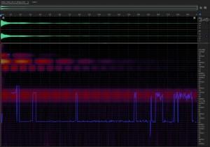 Звуковысотный спектр звучания тяжёлого колокола. Spectral pitch display of heavy bell sound
