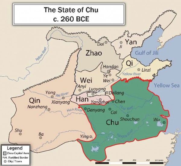 Map of Chu and its neighboring states in 260 BCE. Карта государства Чу и соседних с ним государств, 260 г. до н.э.