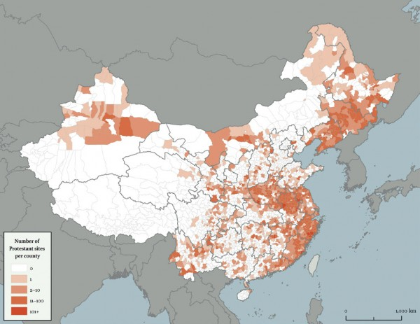 China. Number of Protestant sites per county