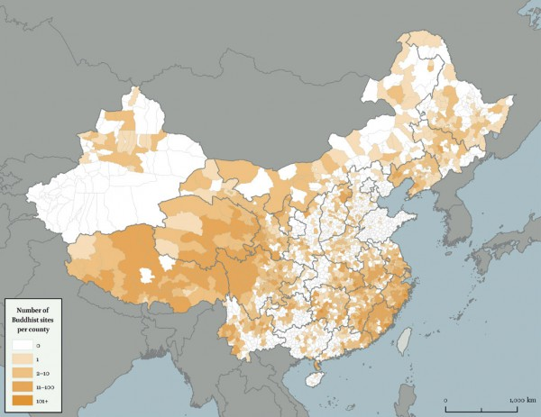 China. Number of Buddhist sites per county
