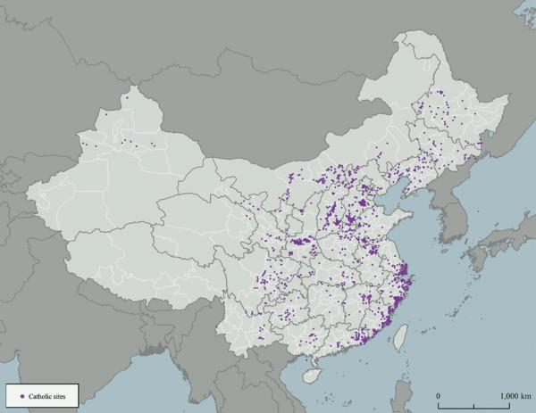China. Location of Catholic sites