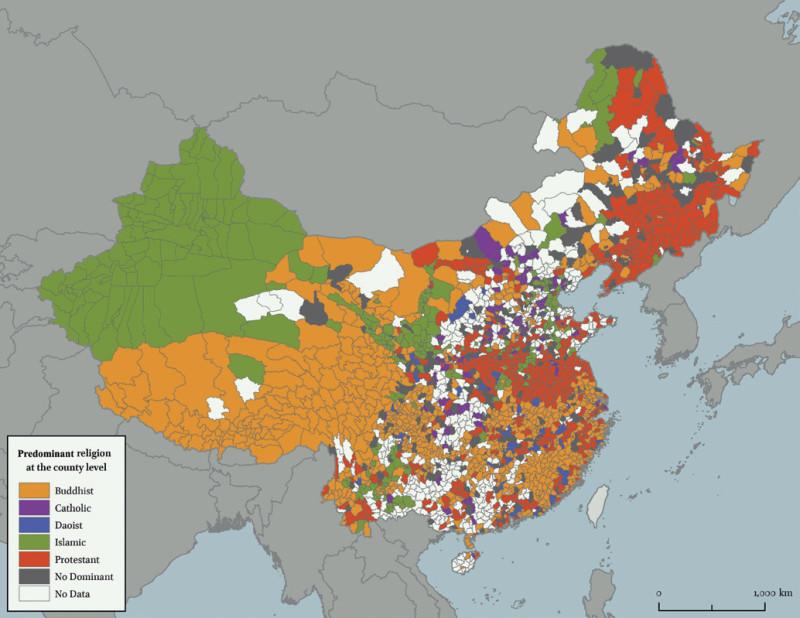 China. Predominant religion at the county level. Китай. Преобладающие религии на уровне уезда