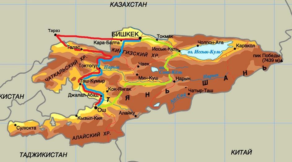Chui-Ferghana_Railway_map_Bishkek-Osh_3_routes_Rakhimov