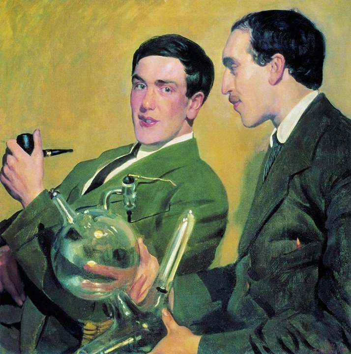 Kapitsa_Kustodiev_Boris_1921_Kapitsa_and_Semyonov