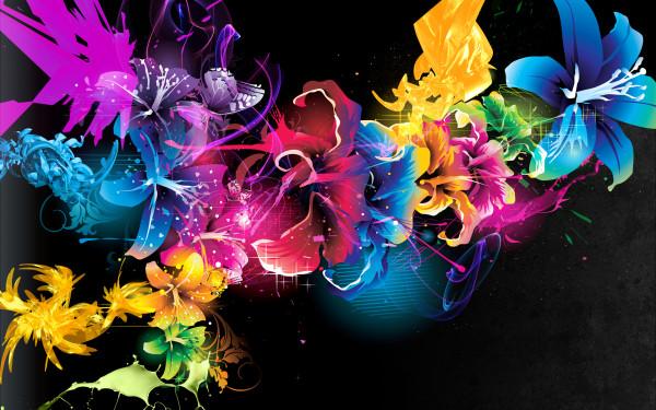 232618 (Абстракция, цветы, краски, узоры, линий, точки, свет)