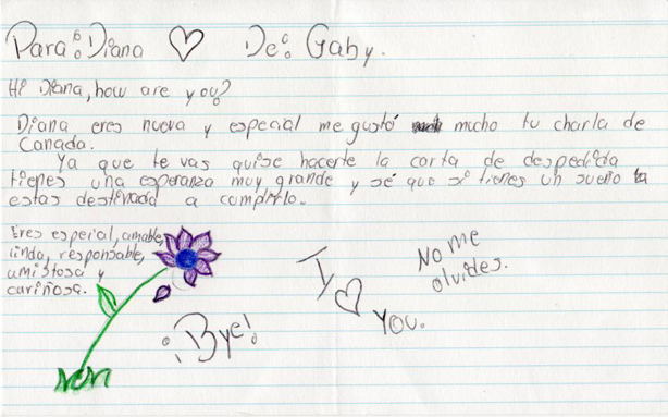 Letters from student to nia teacher DEANNA REESOR