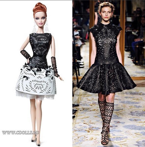 Барби в кожаном #платье от Marchesa Fall 2012 Ready-To-Wear