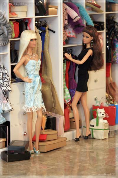 Red Carpet™ Barbie® - Blue Jumpsuit and City Shopper™ Barbie® - Brunette.