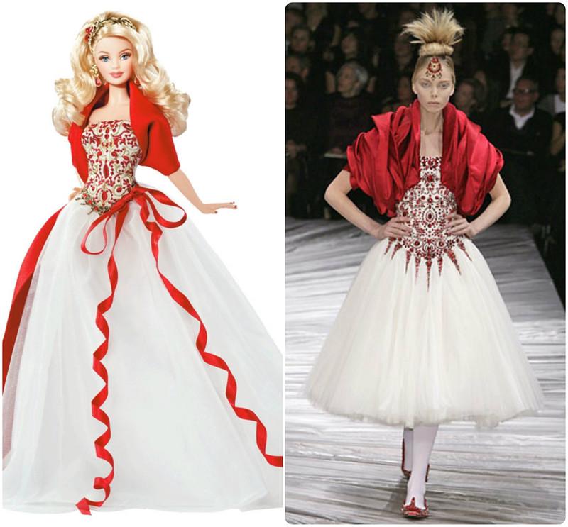 Образ фантазийной принцессы для «Праздничной Барби» 2010 года тоже позаимствован из коллекции осень – зима 2008-2009 Александра МакКуина. Сочетание красного и белого цветов с тонкой вышивкой на кор