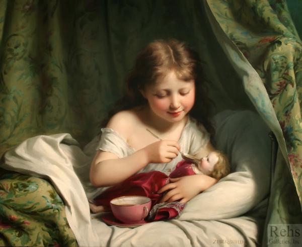 Fritz Zuber-Buhler - Girl Feeding Her Doll