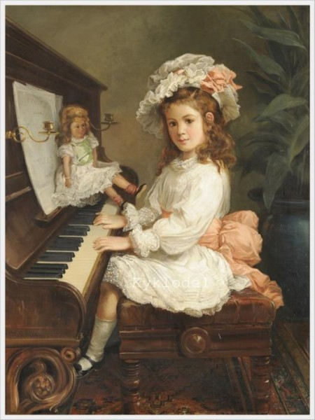 Nicholas Chevalier Portrait of Miss Winifred Hudson as a Young Girl