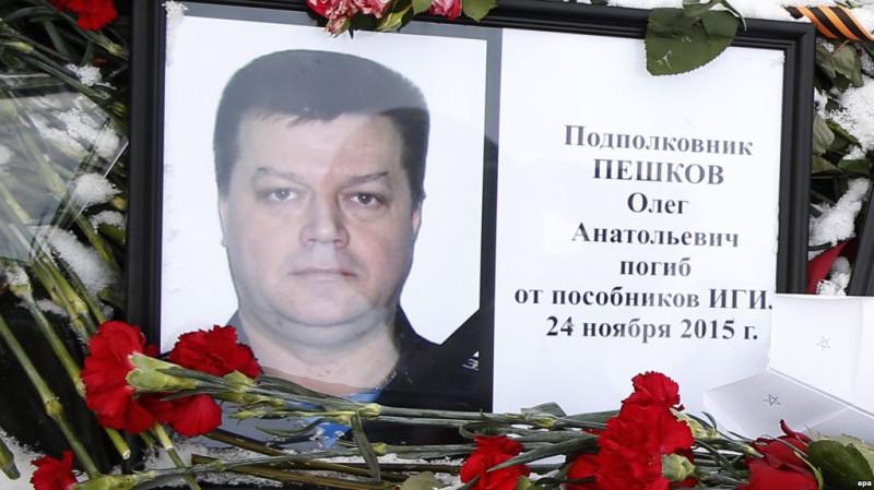 26 ноября 2015 года, импровизированный мемориал Олегу Пешкову около здания Министерства обороны РФ