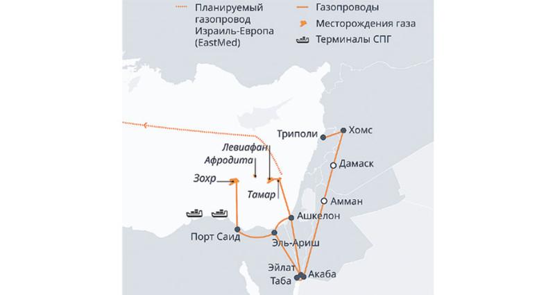 Природный газ в Восточном Средиземноморье. Важнейшие месторождения и трубопроводы. Фото: dw.com