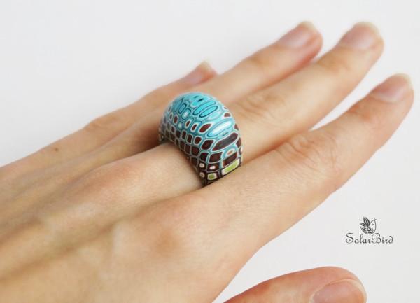 Solar Bird кольцо из полимерной глины полосатый