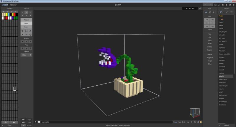Бесплатный кросс-платформенный 3D-редактор MagicaVoxel (https://ephtracy.github.io/)