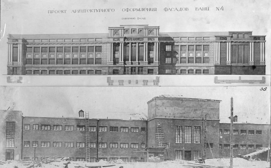 Вид бани №4 до оформления фасадов. Построена после  окт. революции уг. Бр. Коростелевых и Красноармейского переулка