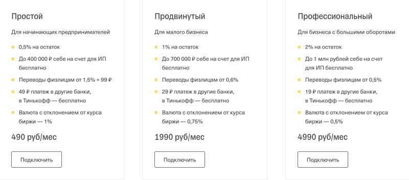 Тарифы Тинькофф Бизнес