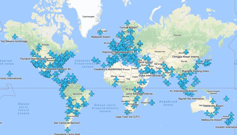 Карта с бесплатными точками wi-fi в более чем 300 аэропортов мира