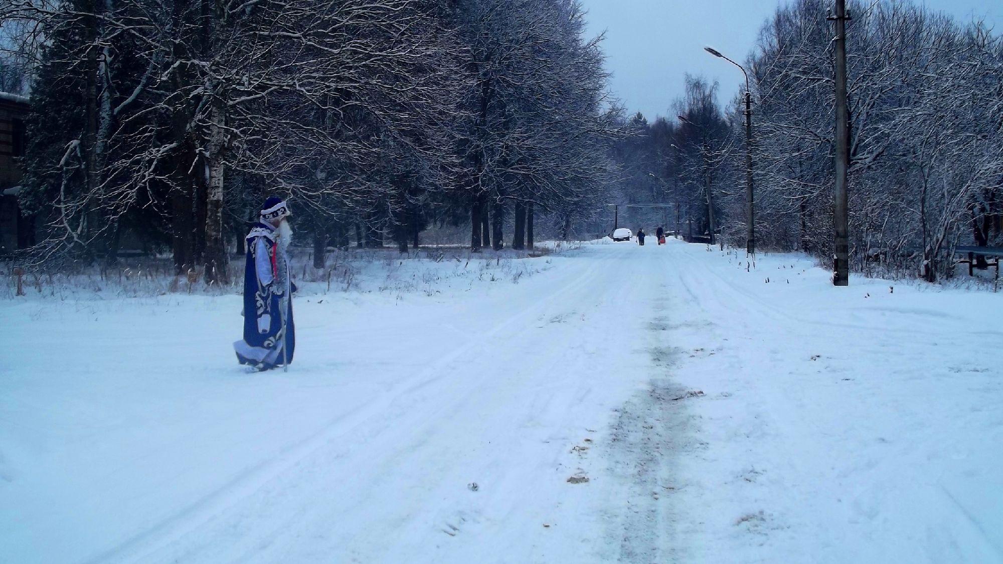 На дорогу внезапно вышел Дед мороз.