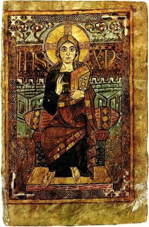 рукопись годескалька, придворного писца карла великого. Христос