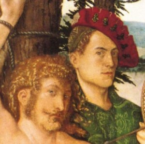 Hans Baldung Grien, St Sebastian Altarpiece - saint and artist in detail (1517)