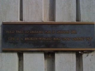 Hold fast to dreams For if dreams die Life is a broken winged bird That cannot fly.